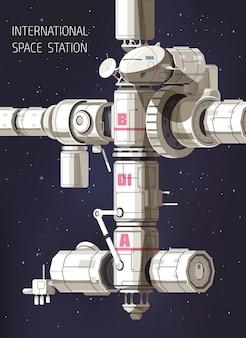 Esplorazione dello spazio con la stazione spaziale internazionale contro il cielo stellato