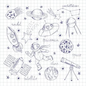 Set di doodles di esploratori spaziali