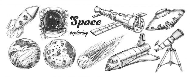 Esplorazione dello spazio Vettore Premium