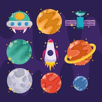 Astronomia della galassia spaziale nelle icone della raccolta di stile del fumetto come l'illustrazione del razzo ufo del pianeta