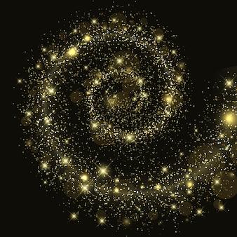 Sfondo galassia spaziale con stelle glitter, scia a spirale leggera