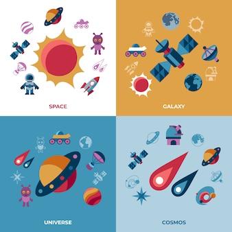 Set di icone di spazio galassia e universo