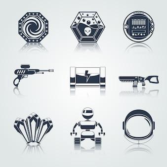 Icone o elementi del gioco spaziale neri