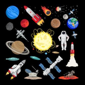 Icone dello spazio in stile piatto