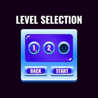 Interfaccia di selezione del livello dell'interfaccia utente del gioco della gelatina spaziale per i giochi 2d