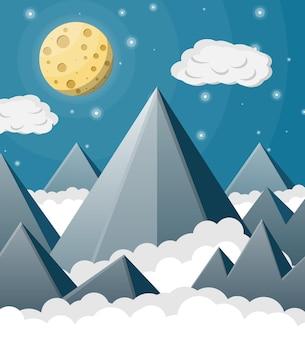 Paesaggio spaziale con montagne e luna piena. cielo con stelle e nuvole. paesaggio roccioso notturno.