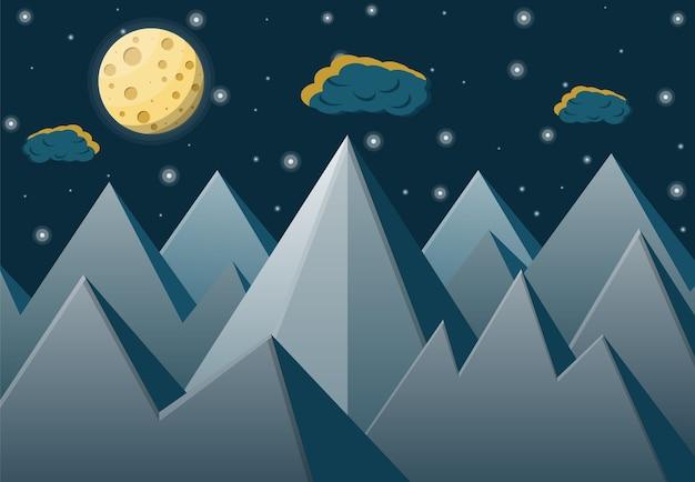 Paesaggio spaziale con montagne e luna piena.