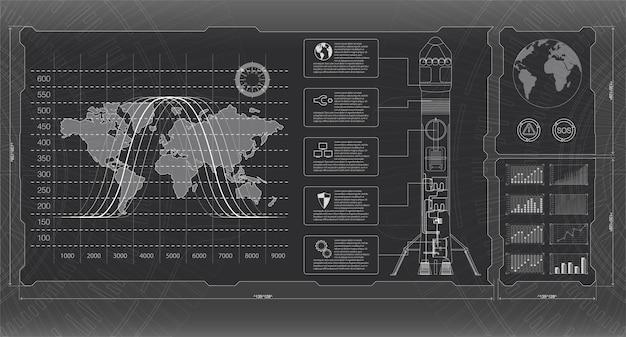 Razzi con interfaccia di lancio spaziale, display grafico che controlla il razzo a pallet.