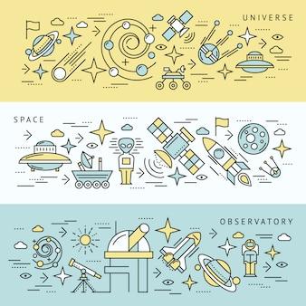 Set di banner di linea spaziale