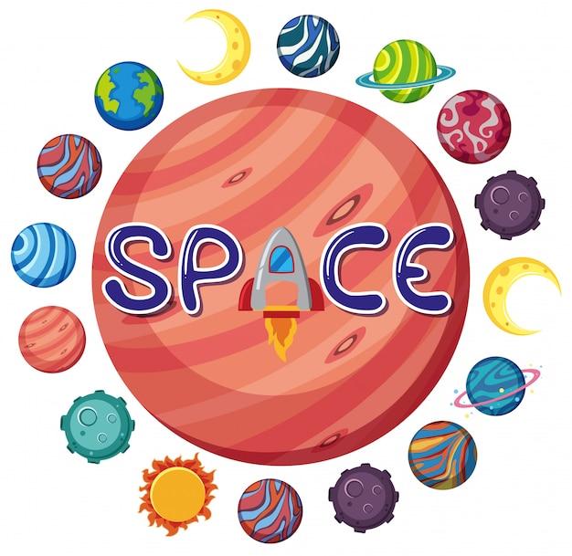 Logo spaziale con molti pianeti a forma di cerchio