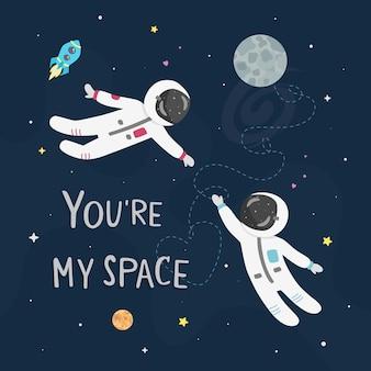 Illustrazione di amore spaziale. l'astronauta ragazzo e l'astronauta ragazza volano l'uno verso l'altro. sei la mia carta spaziale.