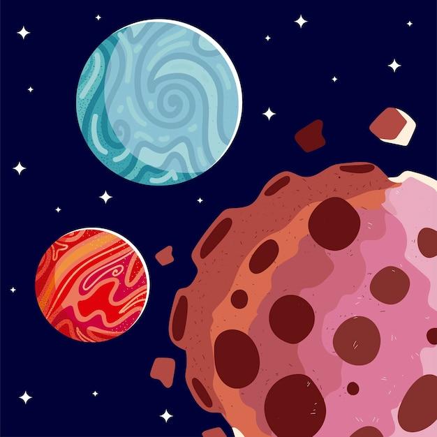 Spazio marte pianeti asteroidi galassia cosmo stelle sfondo illustrazione
