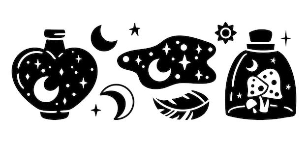 Space mason jar bottiglia mistica celeste con luna a fungo e silhouette di piume di stelle
