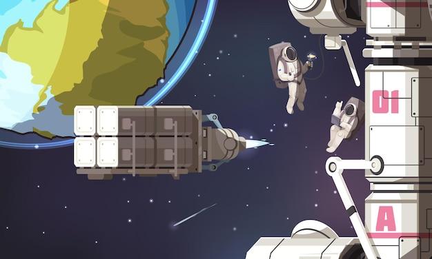 Fondo della missione spaziale con gli astronauti in tute spaziali che volano nel cosmo esterno senza gravità vicino all'illustrazione della stazione internazionale