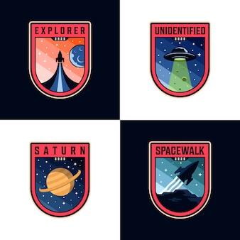 Set di logo patch missione spaziale