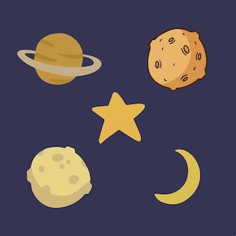 Insieme di raccolta di simboli di oggetti spaziali social media post vector illustration