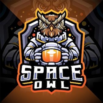 Gufo spaziale esport mascotte logo design