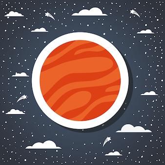 Pianeta dello spazio sopra l'illustrazione di vettore di progettazione dello sprazzo di sole