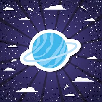 Pianeta dello spazio sopra l'illustrazione di vettore dello sprazzo di sole