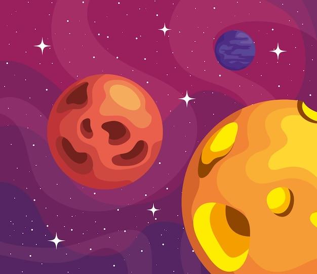 Illustrazione di scena di pianeti spaziali