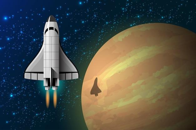 La corsa allo spazio e il turismo spaziale sono in crescita. illustrazione in stile 3d Vettore Premium