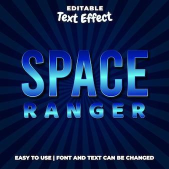 Space ranger titolo del gioco stile effetto testo modificabile