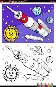 Libro da colorare di carattere razzo spaziale