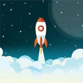 Illustrazione di volo del razzo di spazio