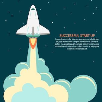 Lancio di un razzo spaziale. sviluppo del progetto. astronave start up concept flat style. sviluppo dell'innovazione delle imprese.
