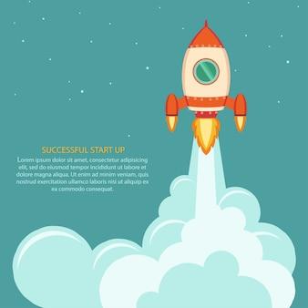 Lancio di un razzo spaziale. sviluppo del progetto. avviare il concetto di stile piatto.