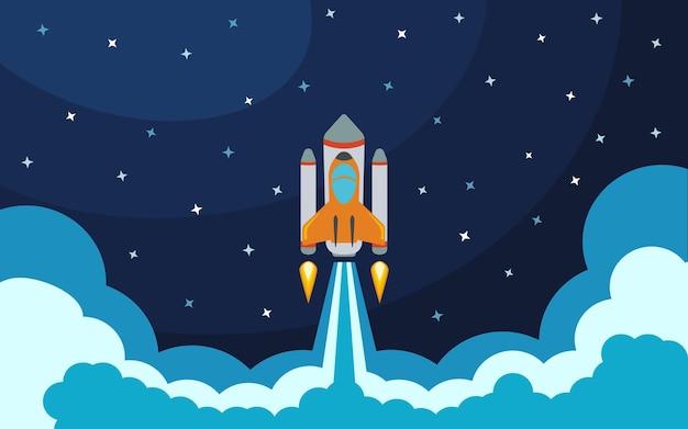 Lancio del razzo spaziale. illustrazione vettoriale con razzo volante. viaggio spaziale. sviluppo del progetto. idea creativa.