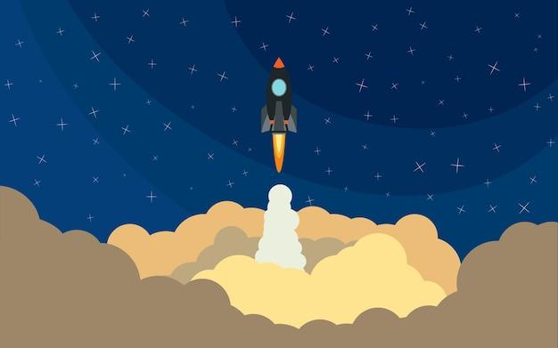 Lancio del razzo spaziale. illustrazione vettoriale con razzo volante. viaggio spaziale. sviluppo del progetto. idea creativa,