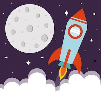 Razzo spaziale con luna e nuvole su sfondo stellato e del tema futuristico e cosmo