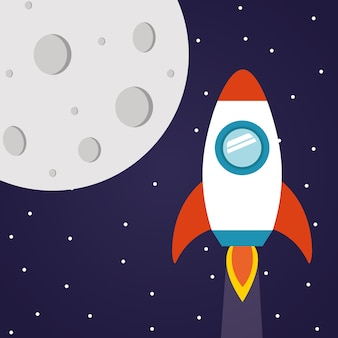 Razzo spaziale con la luna su sfondo stellato del tema futuristico e cosmo