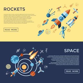 Set di icone di astronomia di razzi spaziali e