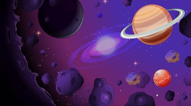 Uno sfondo di scena spaziale Vettore Premium