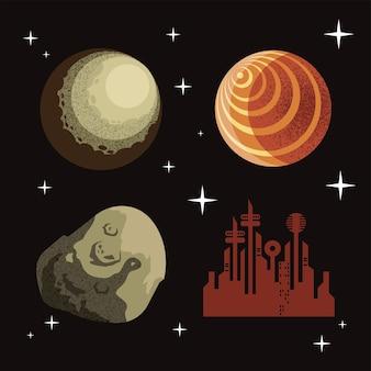 Set di icone spaziali e sci-fi dell'universo cosmo e tema futuristico