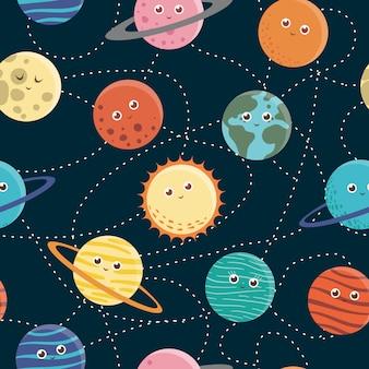 Spazio seamless di pianeti per bambini. illustrazione piatta luminosa e carina con terra sorridente, sole, luna, venere, marte, giove, mercurio, saturno, nettuno