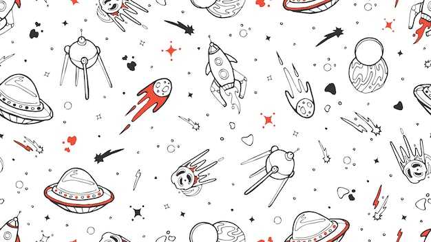 Spazio pattern senza giunture. vector kids seamless texture con doodle rucola, pianeta, stelle. spazio, illustrazione dell'universo razzo e pianeta stella, asteroide