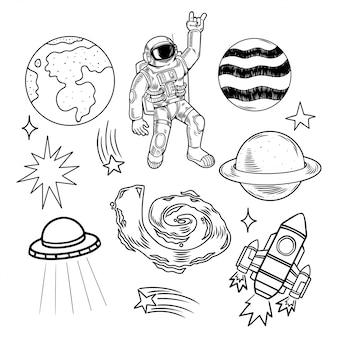 Set di incisioni insieme di pianeti terrestri, stelle, astronauti, astronauti, ufo, razzi, galassie, meteoriti. illustrazione moderna del fumetto di scarabocchio.