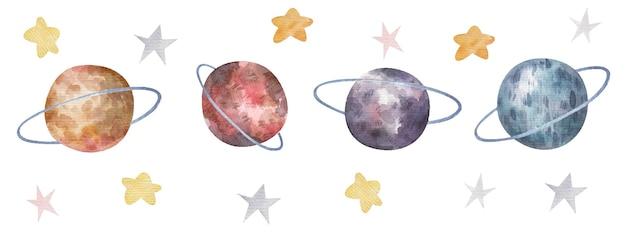 Spazio impostato con pianeti, orbite, stelle, simpatica illustrazione per bambini ad acquerello