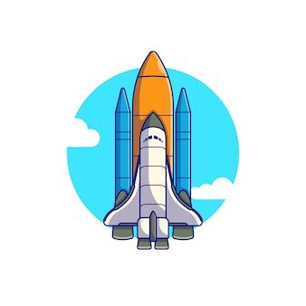 Progettazione dell'illustrazione di vettore di volo della navetta spaziale