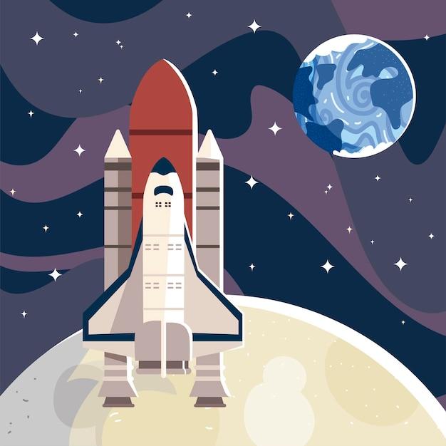 Illustrazione dell'universo di esplorazione di lancio della navetta spaziale
