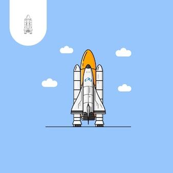 Razzo navetta spaziale uso perfetto per l'icona del design del modello web ui ux ecc