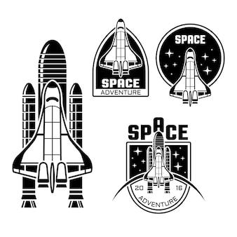 Space shuttle set di etichette monocromatiche, distintivi, emblemi in stile vintage