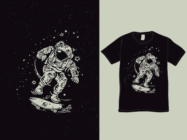 Il design della maglietta astronauta pattinatore spaziale