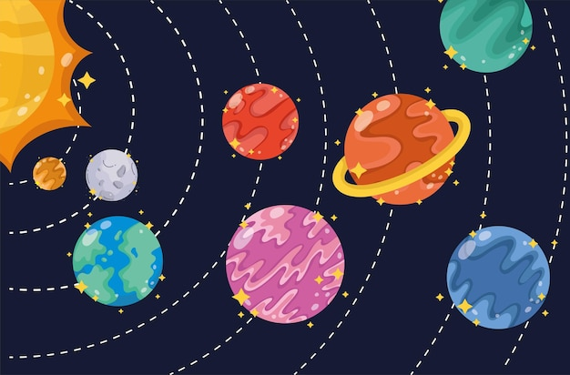 Spazio sistema solare cosmo pianeti sole luna fumetto illustrazione