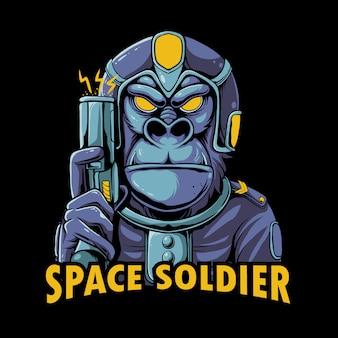 Illustrazione del soldato spaziale. gorilla che indossa una tuta dell'esercito spaziale