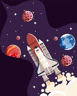 Illustrazione di esplorazione della galassia degli asteroidi dei pianeti della nave spaziale dello spazio