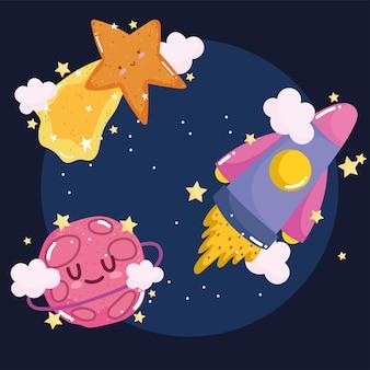 Cartone animato carino stella cadente di astronave spaziale e avventura di esplorazione del pianeta